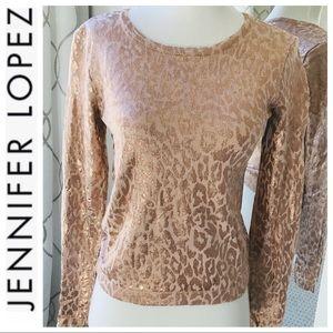 Jennifer Lopez animal print Rosegold sweater XS